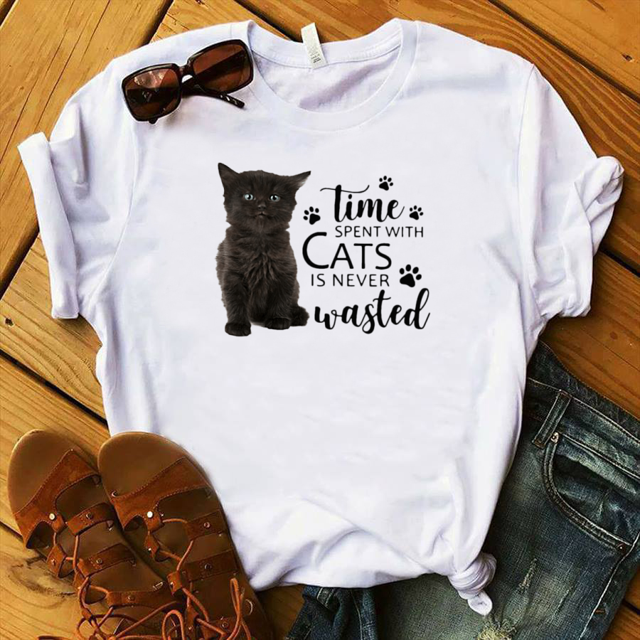 Cat Time spent with cats is never wasted shirt