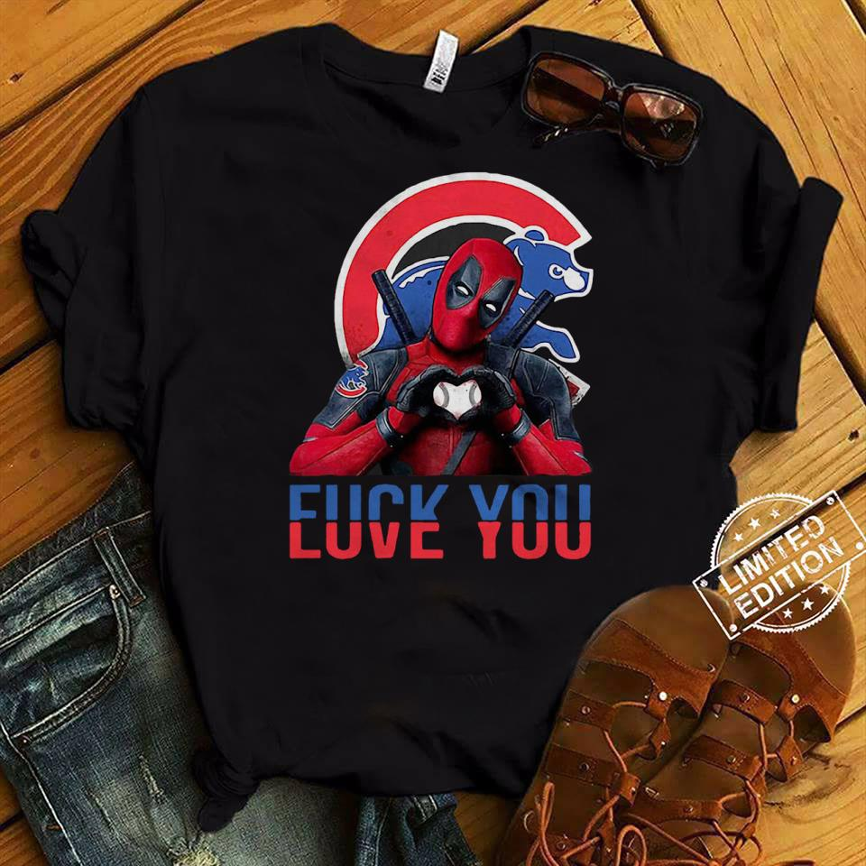 Deadpool Chicago Bears Cubs love you fuck you shirt
