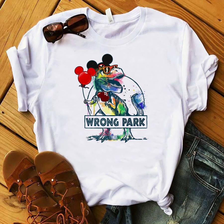 Dinosaur T-rex and Mickey mouse wrong park shirt