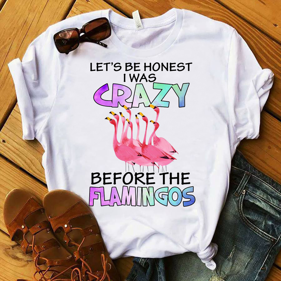 Let's Be Homest I Was Crazy Before the Flamingos shirt
