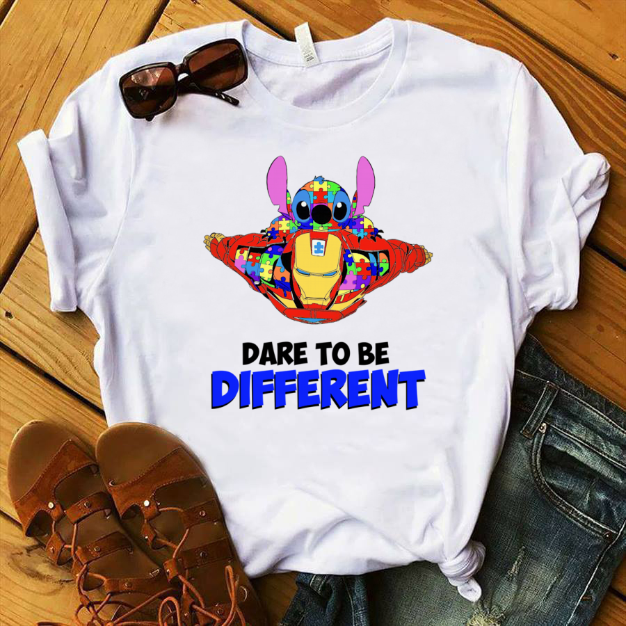 Stick and Iron Man Autism Awareness Dare To Be Different shirt