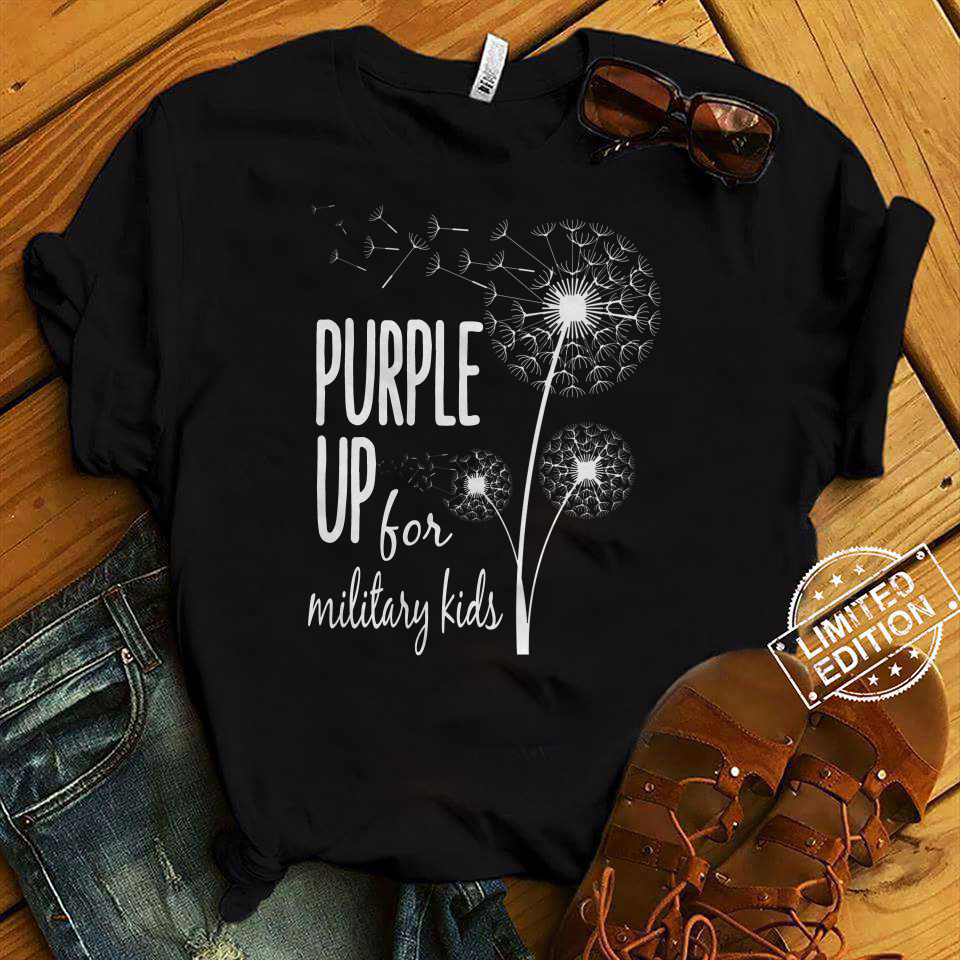 Dandelion purple up for military kids shirt
