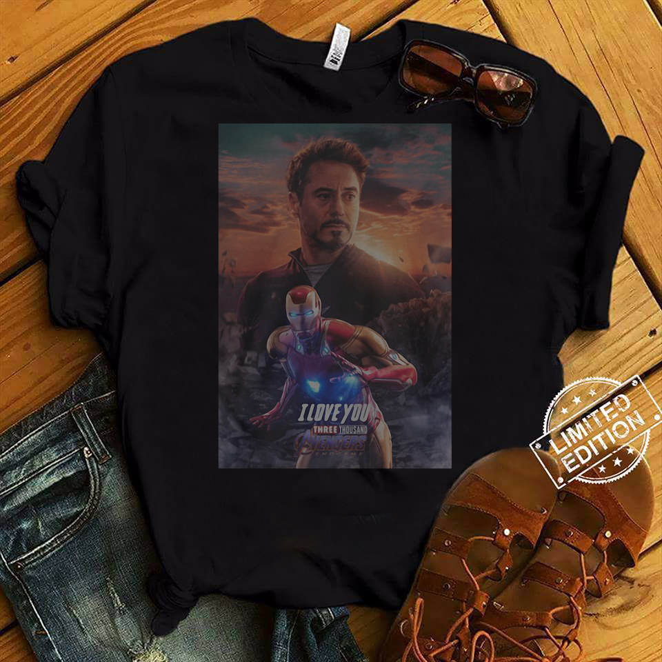 Marvel Avengers Endgame Tony Stark Ironman in sunset I love you three thousand shirt