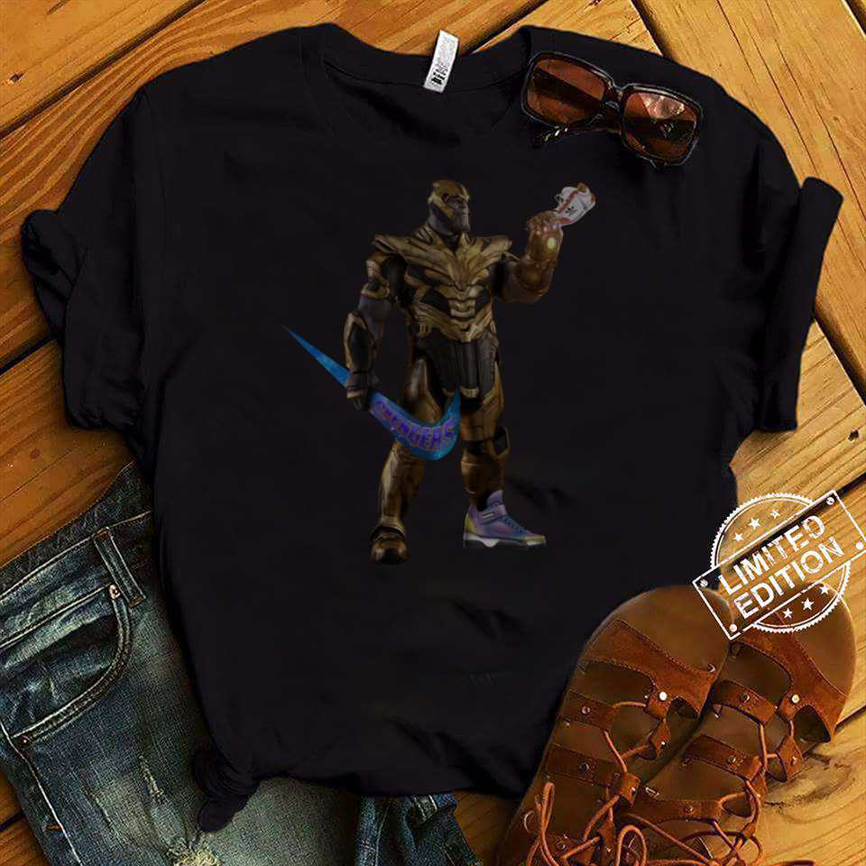 31c3e59a7 Funny Thanos With Swoosh As Weapon and Hand on Shoe shirt Hoodie ...