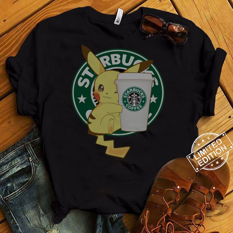 Pikachu Hug Starbucks Coffee shirt