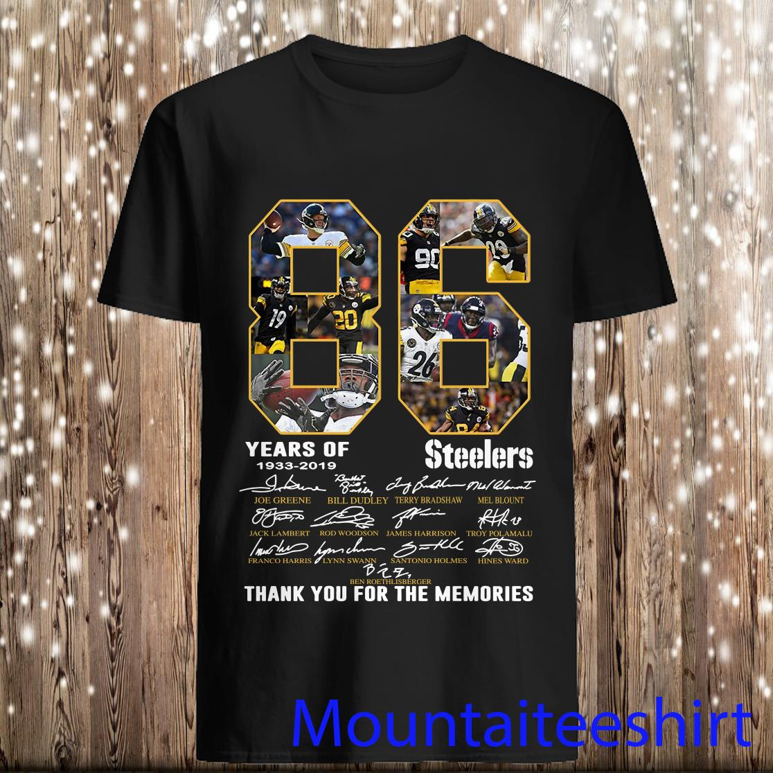 86 Years Of Pittsburgh Steelers 1933 2019 Thank You For The Memories Shirt