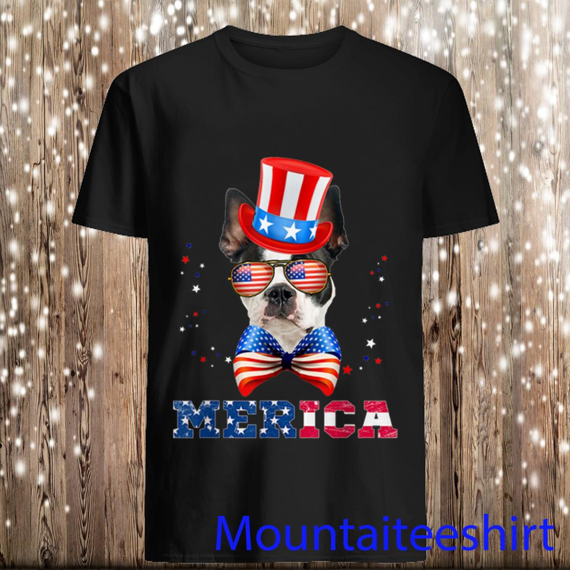 American Flag Merica Patriotic Boston Terrier 4th Of July Shirt