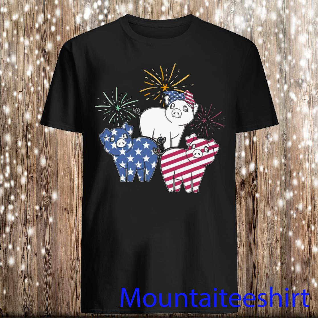 American Flag Pigs For Independence Day Funny T-Shirt