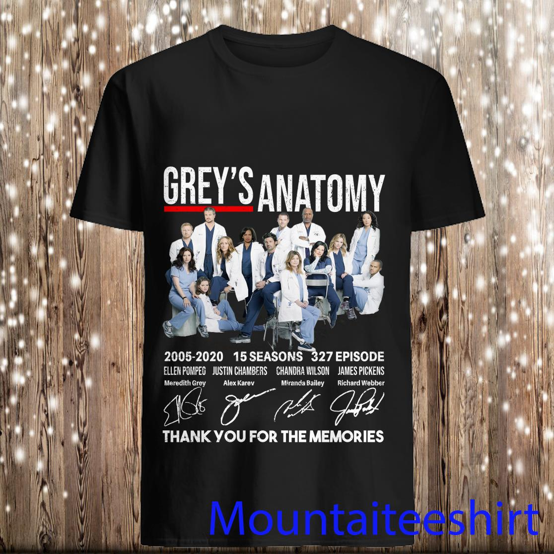 Grey's Anatomy 2005 2020 15 Seasons 327 Episodes Thank You for The Memories Shirt