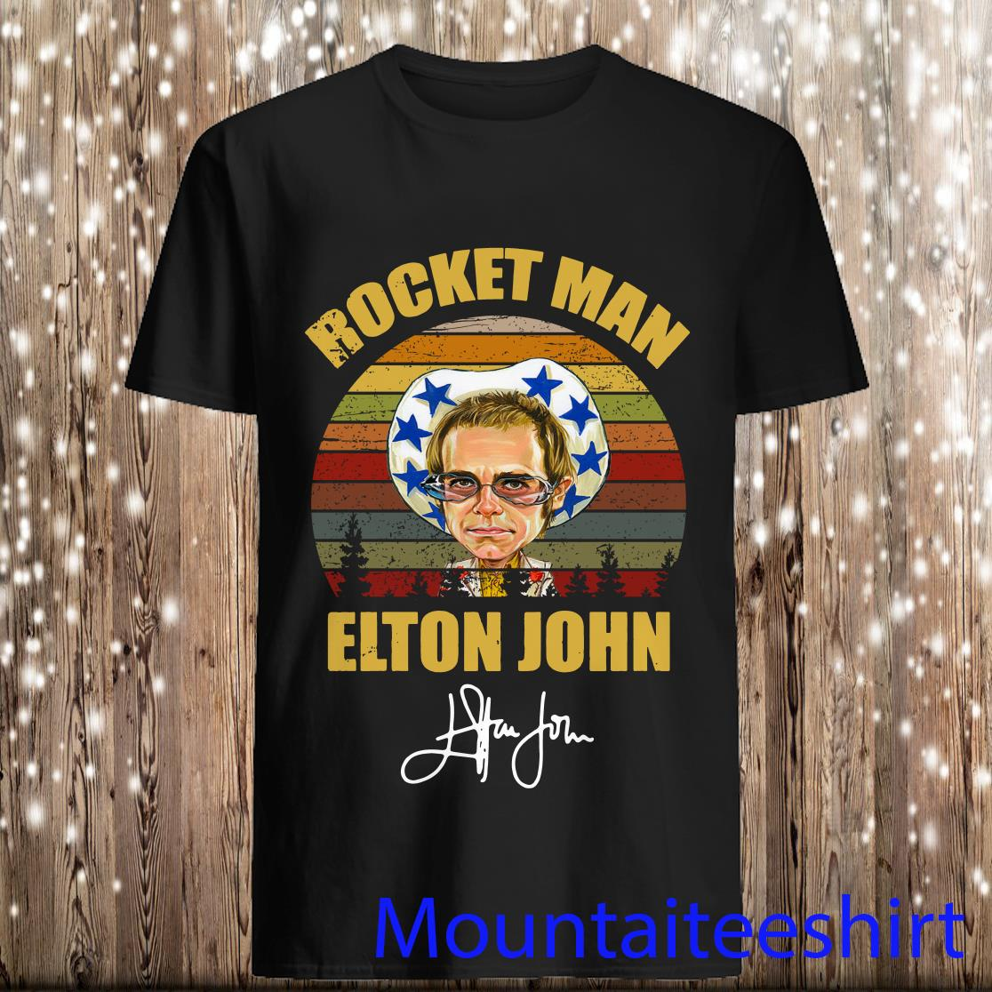 Rocket Man Elton John Signature Retro Sunset Shirt