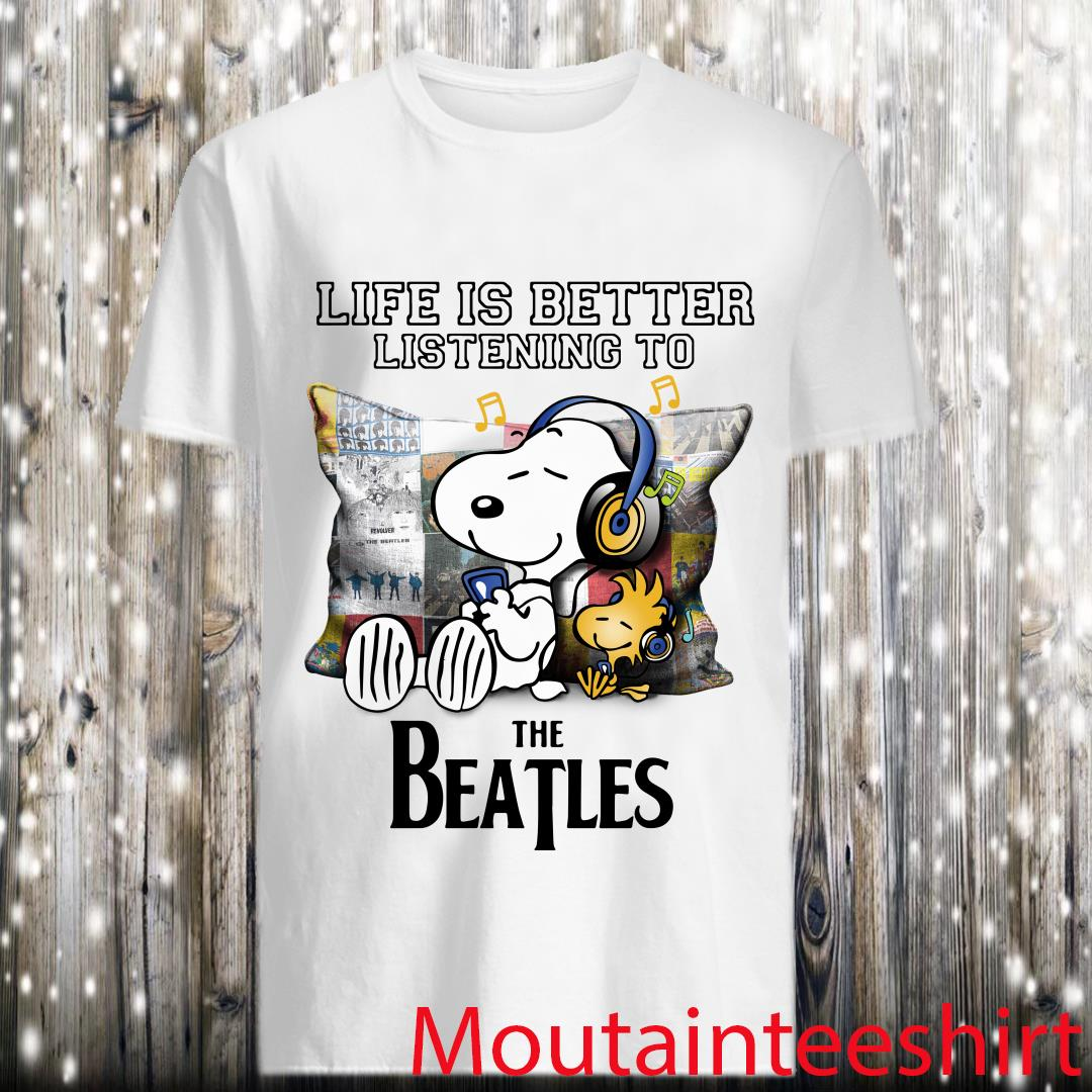 Snoopy And Woodstock Life Is Better Listening To The Beatles Shirt