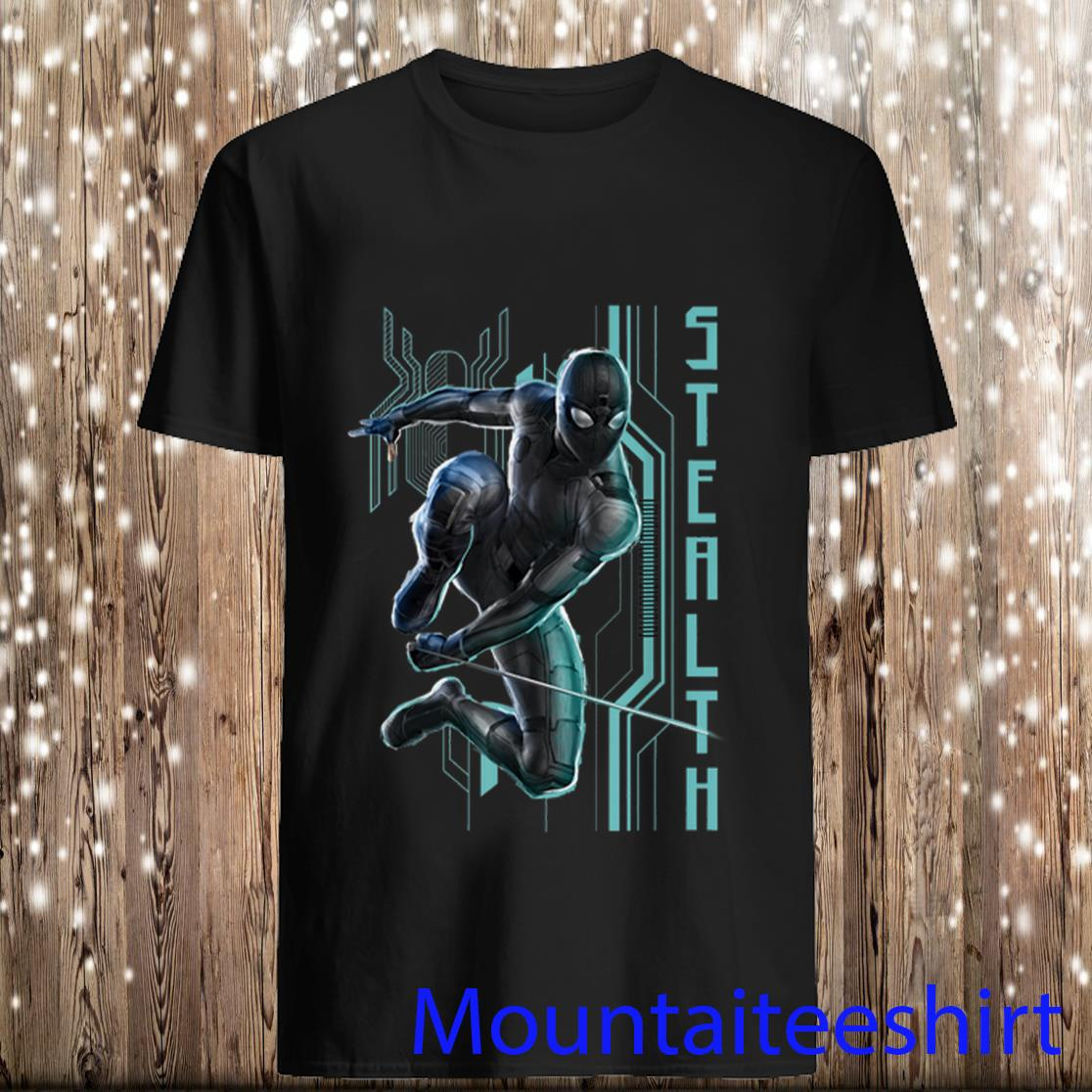 Spider man Far From Home Black Stealth Suit Tech Poster Shirt