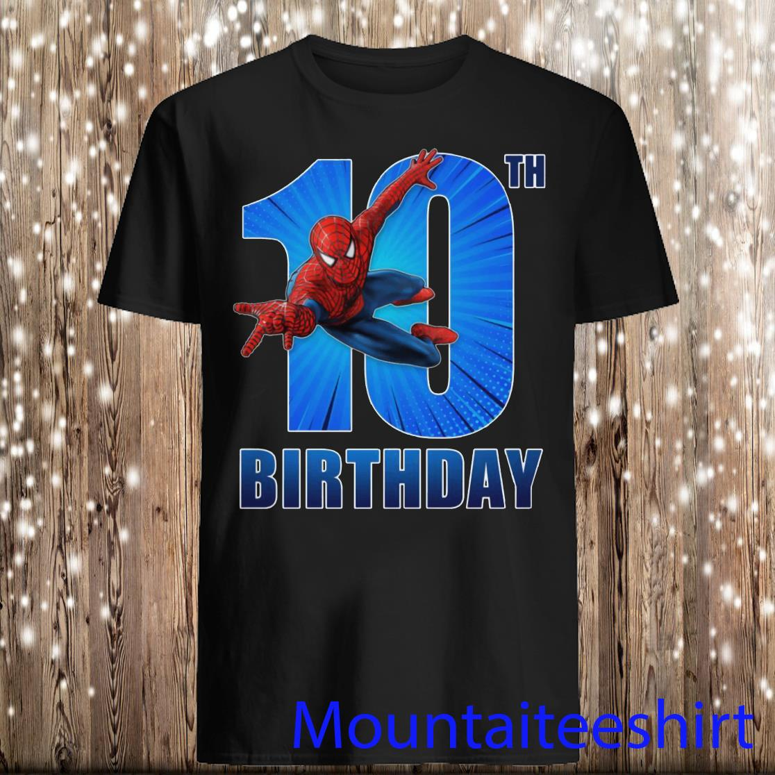 Spiderman Swinging 10th Funny Birthday Youth Shirt