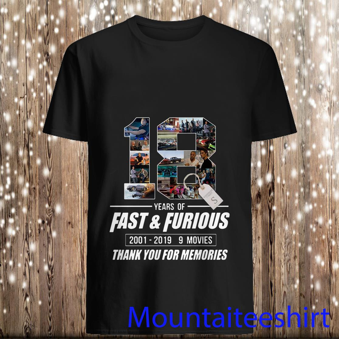 18 Years Of Fast And Furious Thank You For The Memories T-Shirt