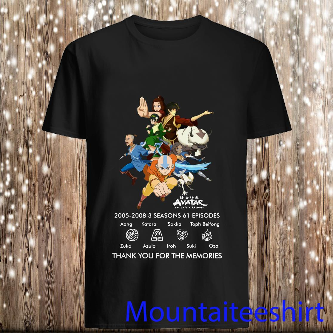 Avatar The Last Airbender 2005-2008 3 Seasons 61 Episodes Thank You for The Memories Shirt