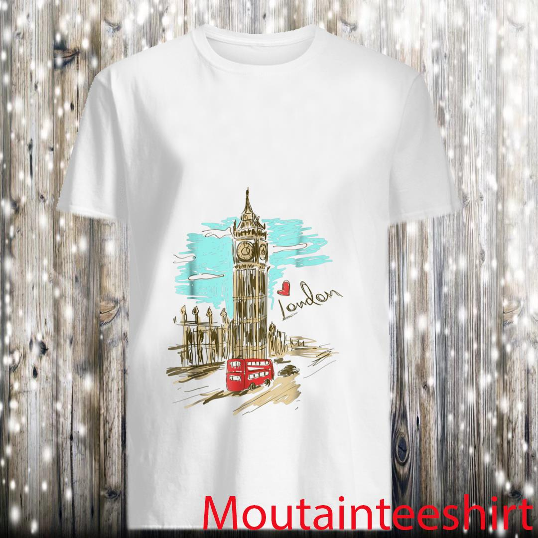 Big Ben Love London Hand Drawn Artwork Graphic Shirt