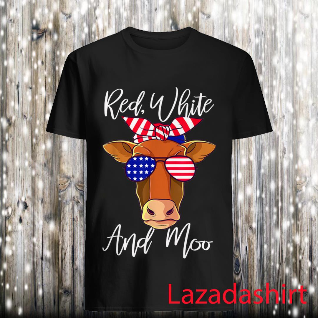 Red White and Moo Cow American Flag 4th Of July Shirt