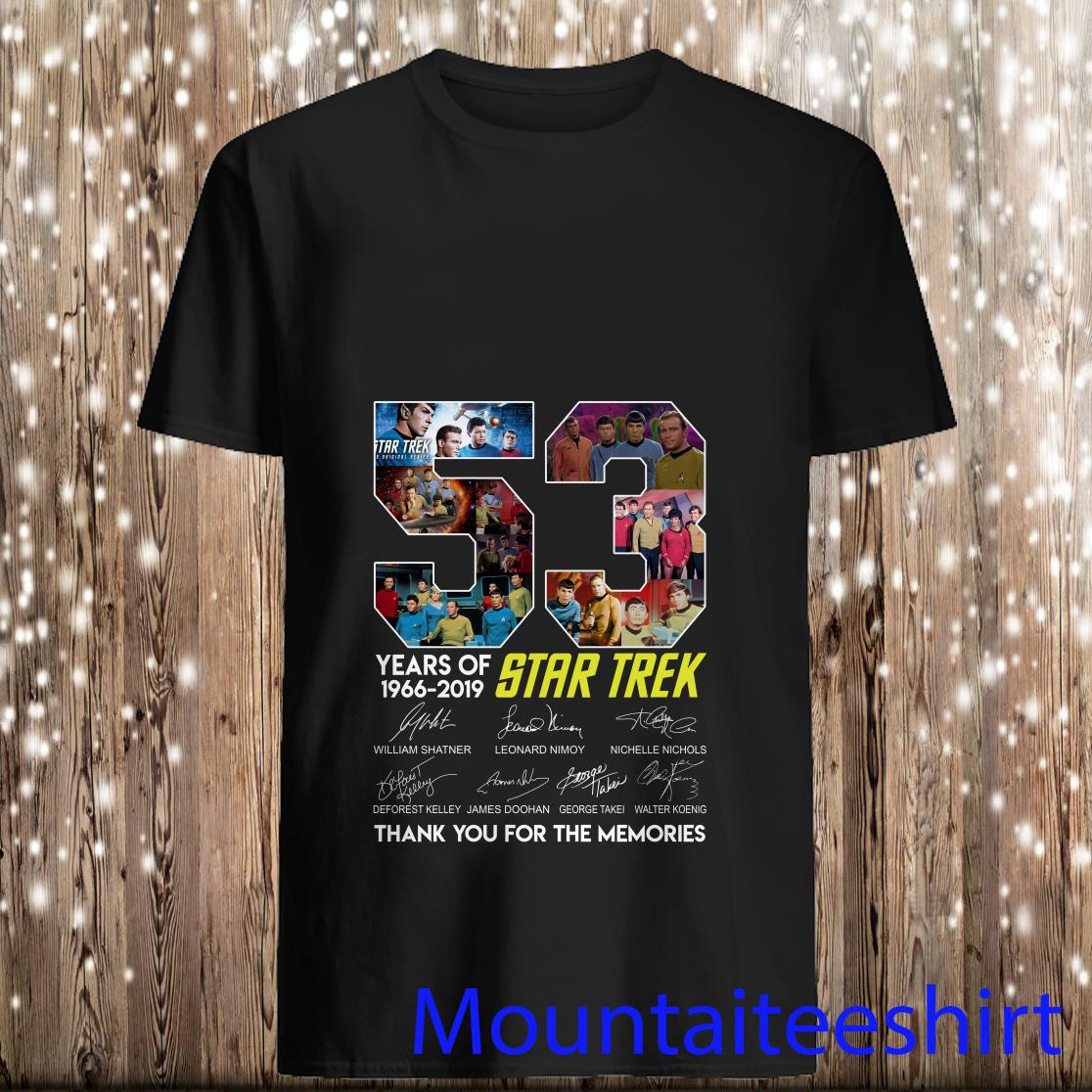 53 years of Star Trek 1966 2019 thank you for the memories signature Shirt