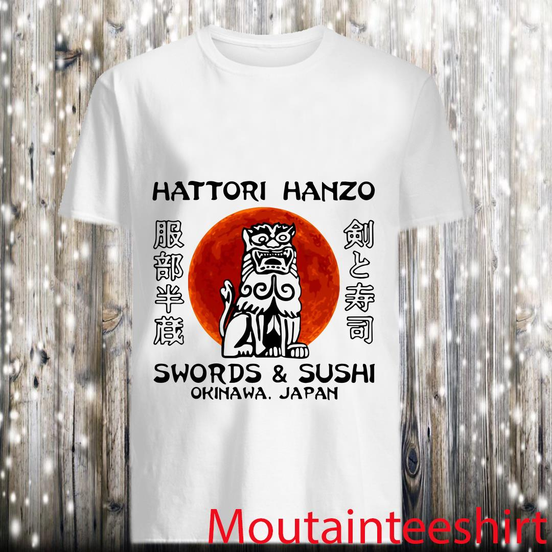 Hattori Hanzo Sword and Sushi Okinawa Japan Lion Statue Shirt