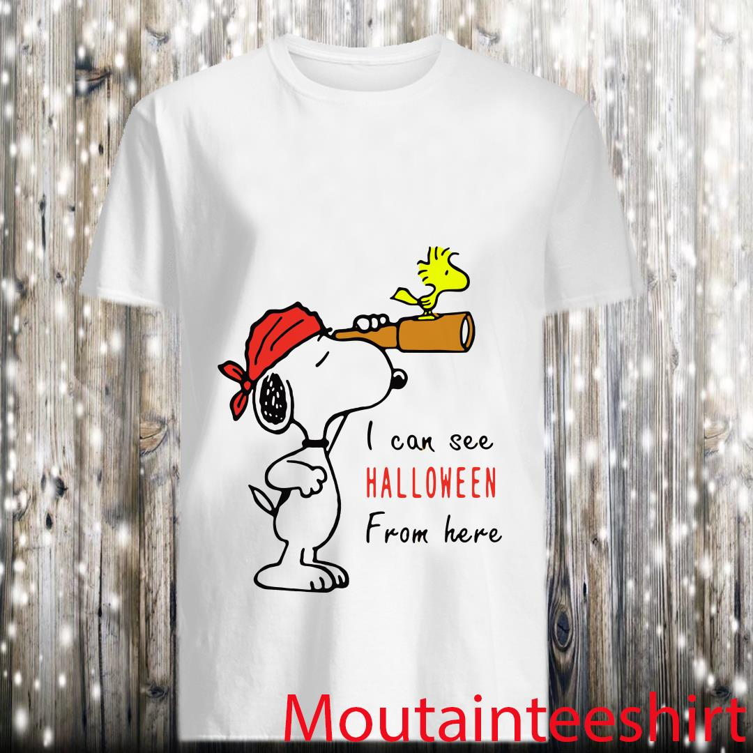 Snoopy And Woodstock I Can See Halloween From Here Shirt