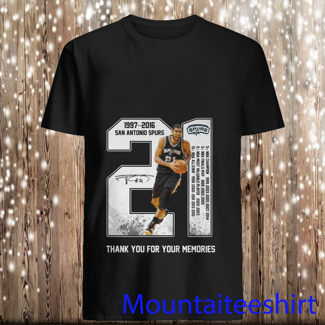 Tim duncan san antonio spurs 21 1977-2016 thank you for the memories shirt