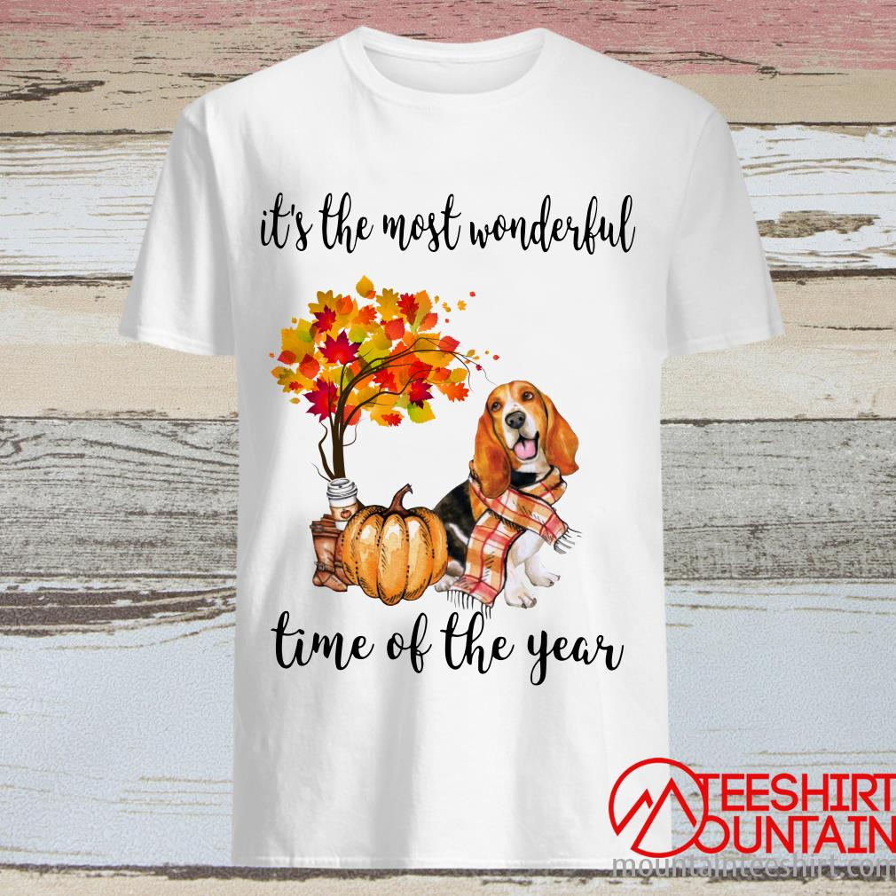 Basset Autumn It's The Most Wonderful Time Of The Year Shirt