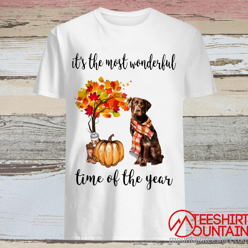 Chocolate Labrador Autumn It's The Most Wonderful Time Of The Year Shirt