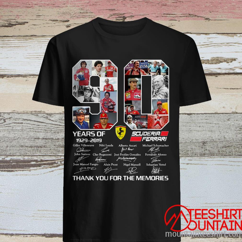 90 Years Of Scuderia Ferrari 1929-2019 Thank You For The Memories Shirt90 Years Of Scuderia Ferrari 1929-2019 Thank You For The Memories T- Shirt