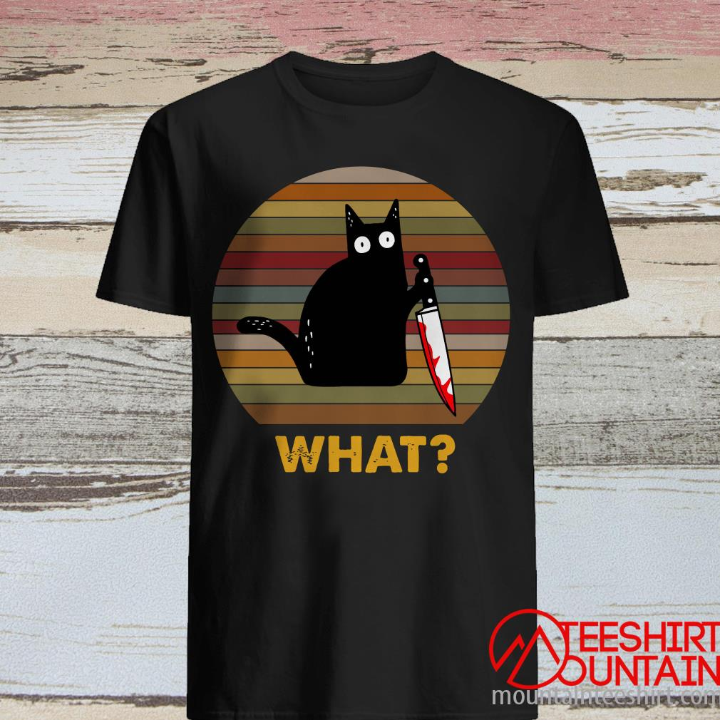 What Black Cat Hold Knife Sunset Shirt