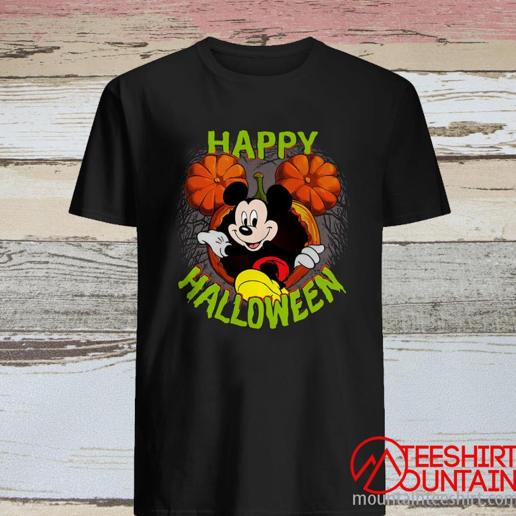 Disney Mickey Mouse Pumpkin Happy Halloween Shirt
