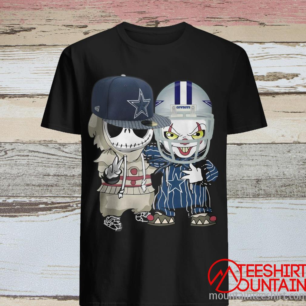 Baby Jack Skellington and Pennywise It Clown Friends Halloween Dallas Cowboys Football Shirt