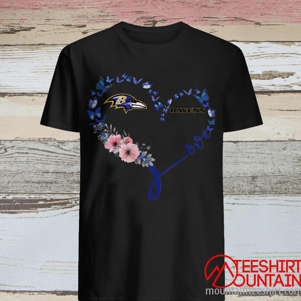 Heart Butterfly Love Baltimore Ravens Shirt