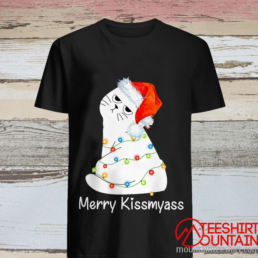 White Cat Merry Kissmyass Christmas Shirt