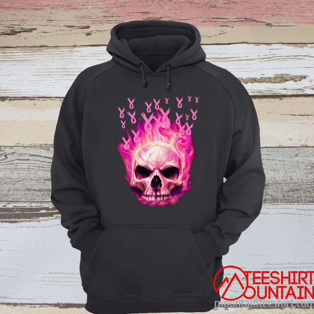 Breast Cancer Awareness Fire Skull Hoodie