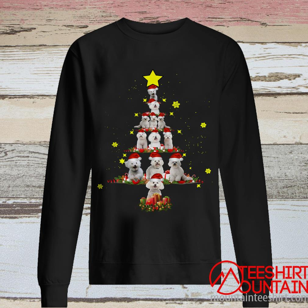 Bichon Frise Tree Christmas Santa Hat Sweatshirt