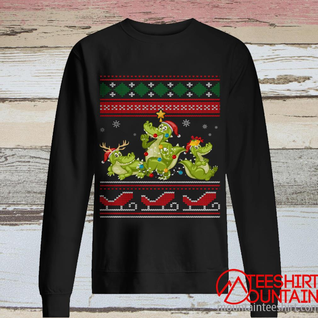 Christmas Three Alligator Crocodile Gift Lights Santa Hat Sweatshirt