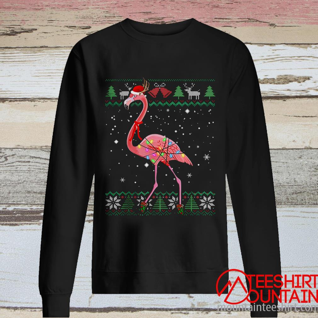 Pretty Ugly Christmas Flamingo Santa Hat Lights Xmas Gifts Sweater