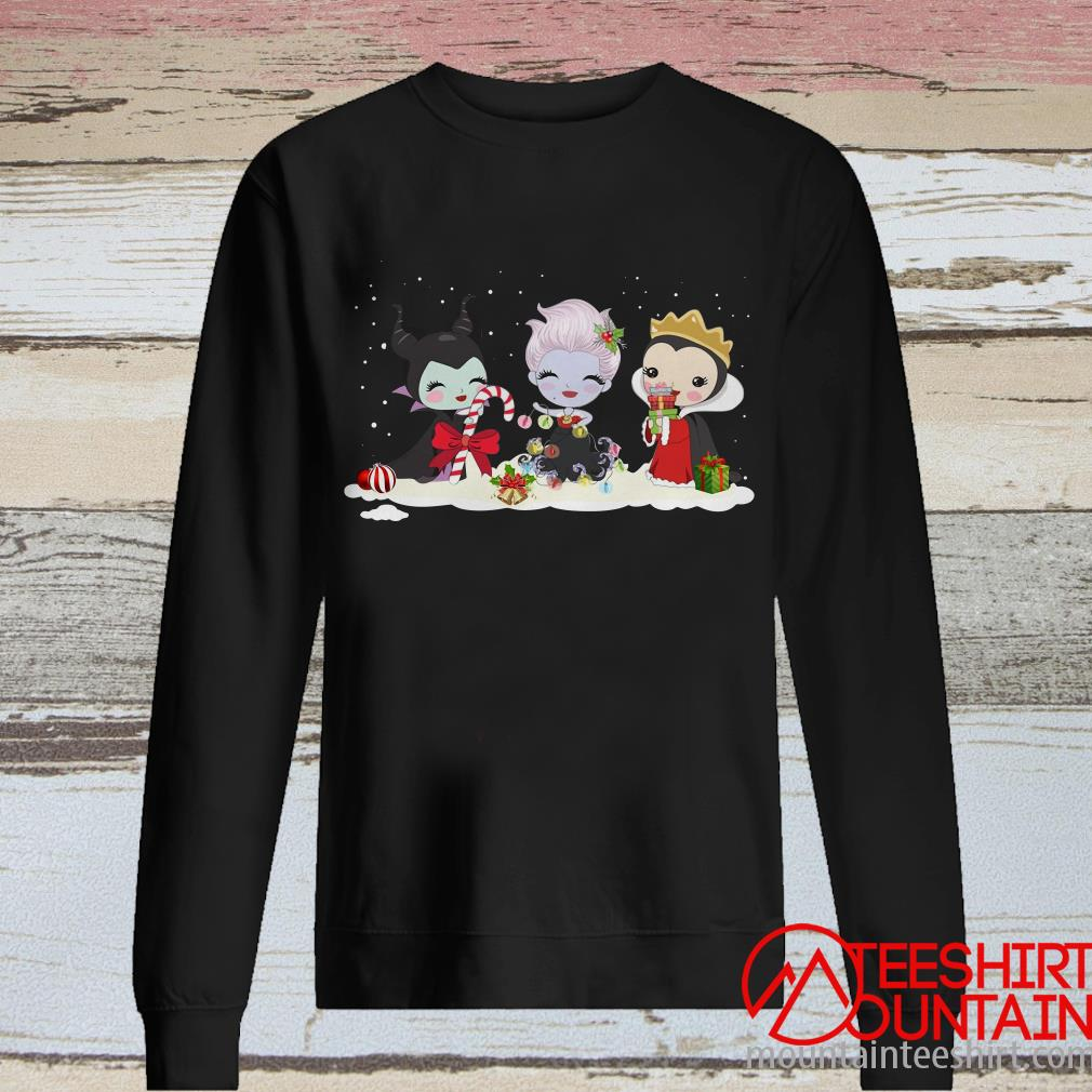 Maleficent Ursula And Evil Queen Chibi Characters Christmas Sweatshirt