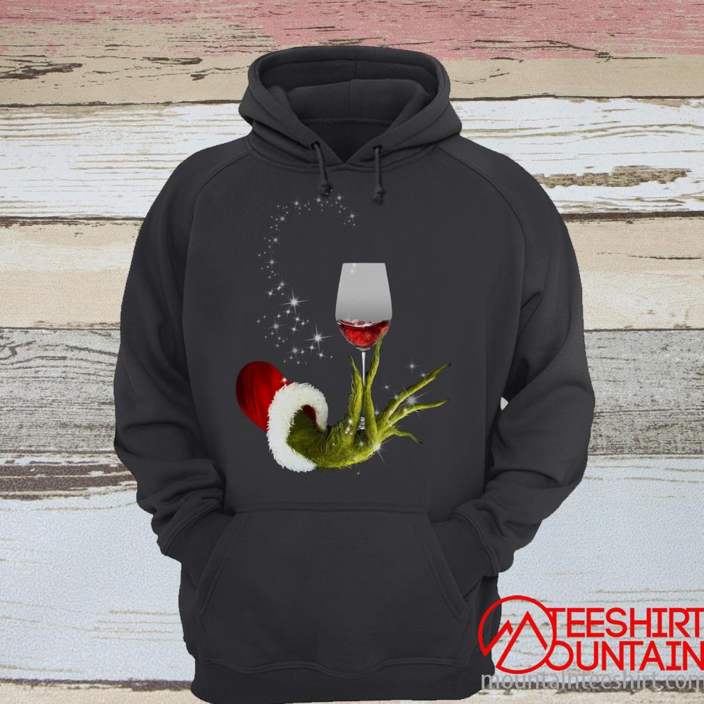 Grinch Hand Holding Glass of Wine T-Shirt
