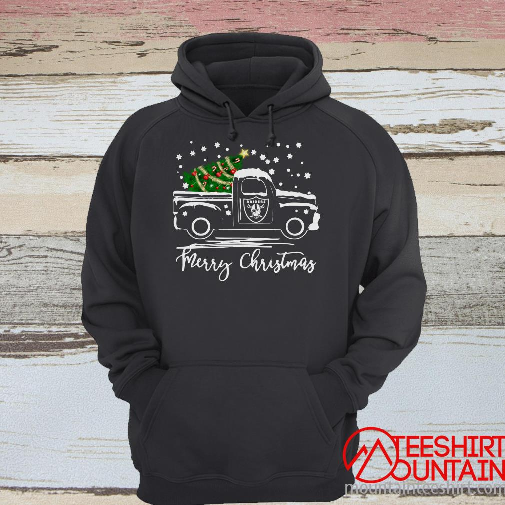 Oakland Raiders Pickup Truck Merry Christmas Sweatshirt