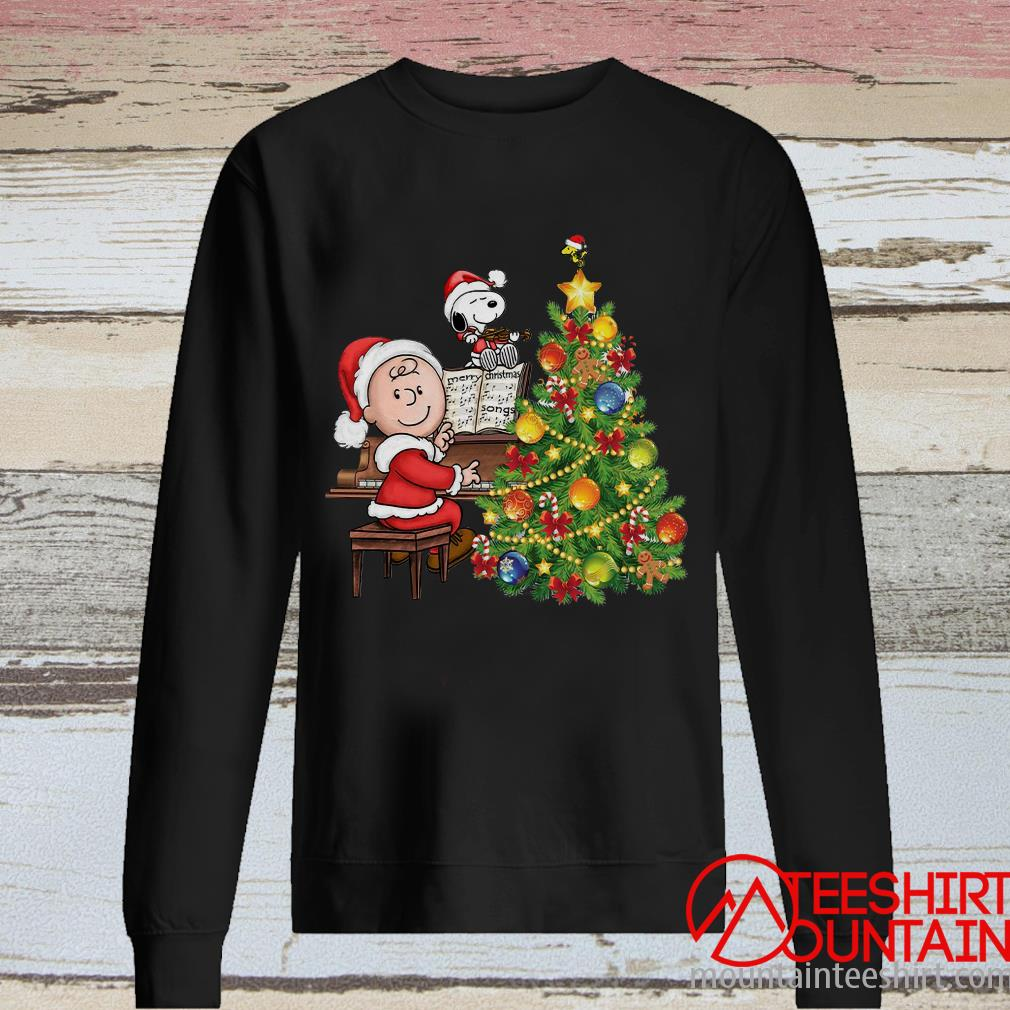 Snoopy And Charlie Brown Playing Piano Christmas Tree Sweater