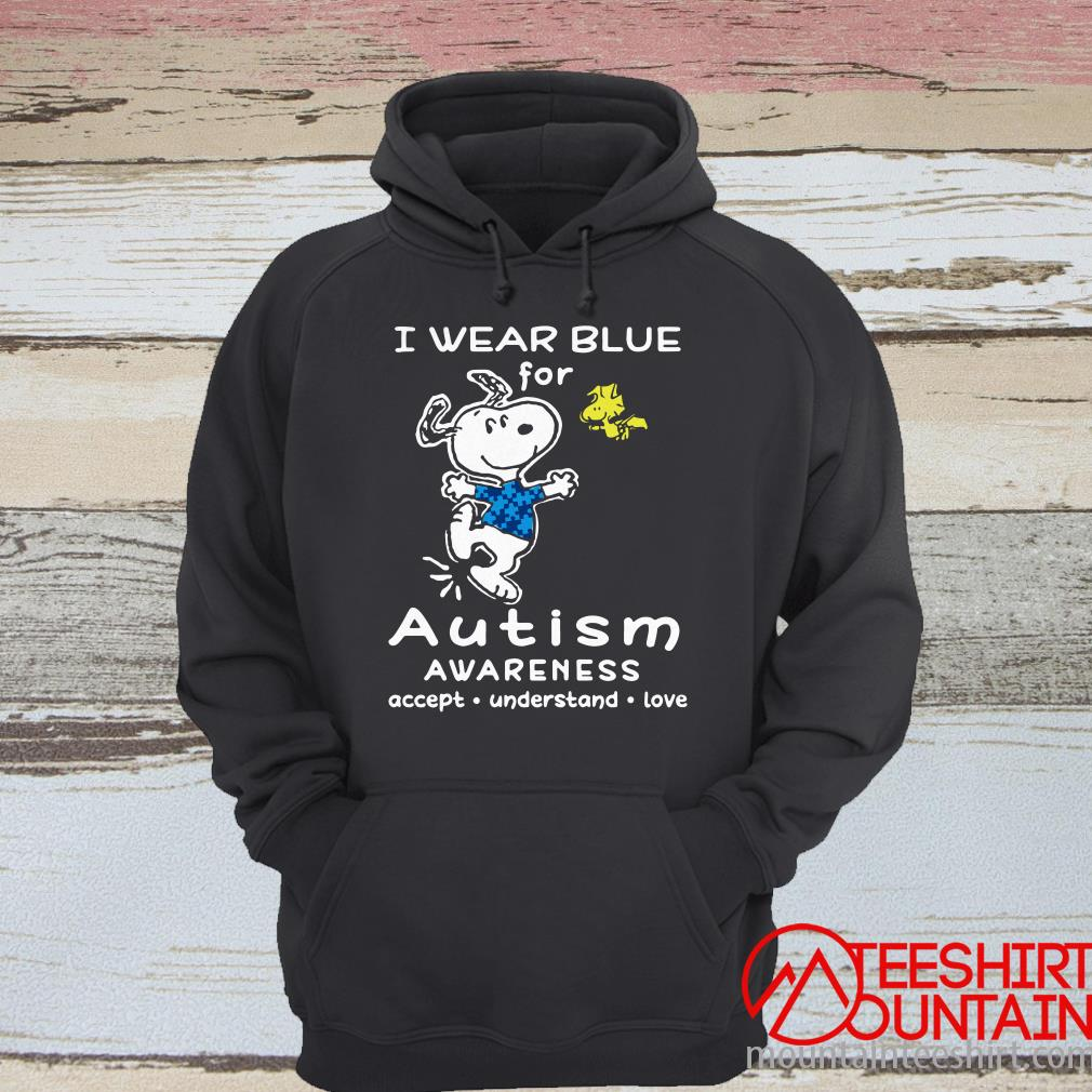Snoopy I Wear Blue For Autism Awareness Accept Understand Love Shirt