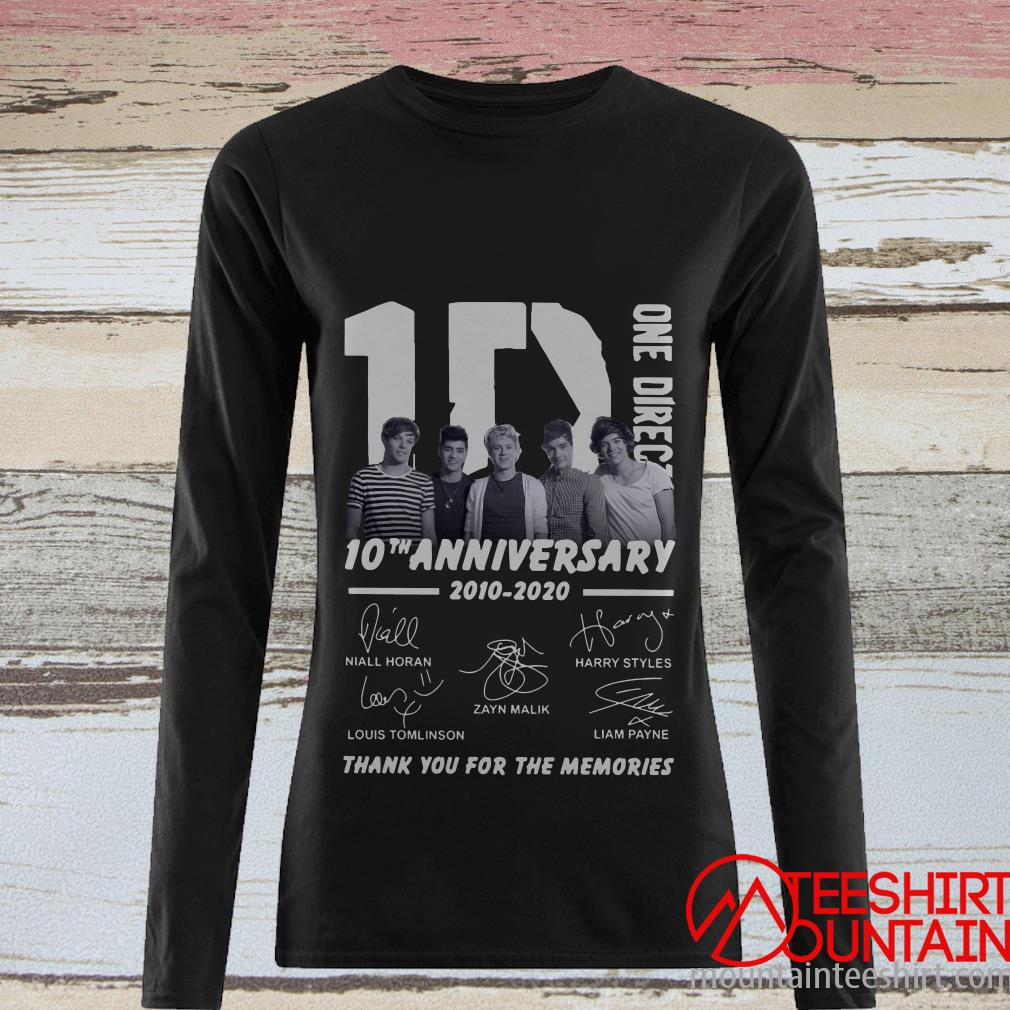 1D One Direction 10th Anniversary 2010 2020 Thank You For The Memories T-Shirt