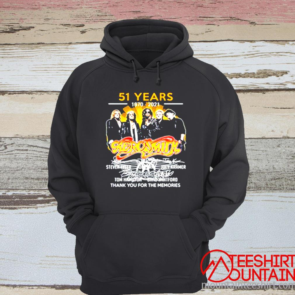 51 Years 1970-2021 Aerosmith Thank You For The Memories Signature Shirt hoodie