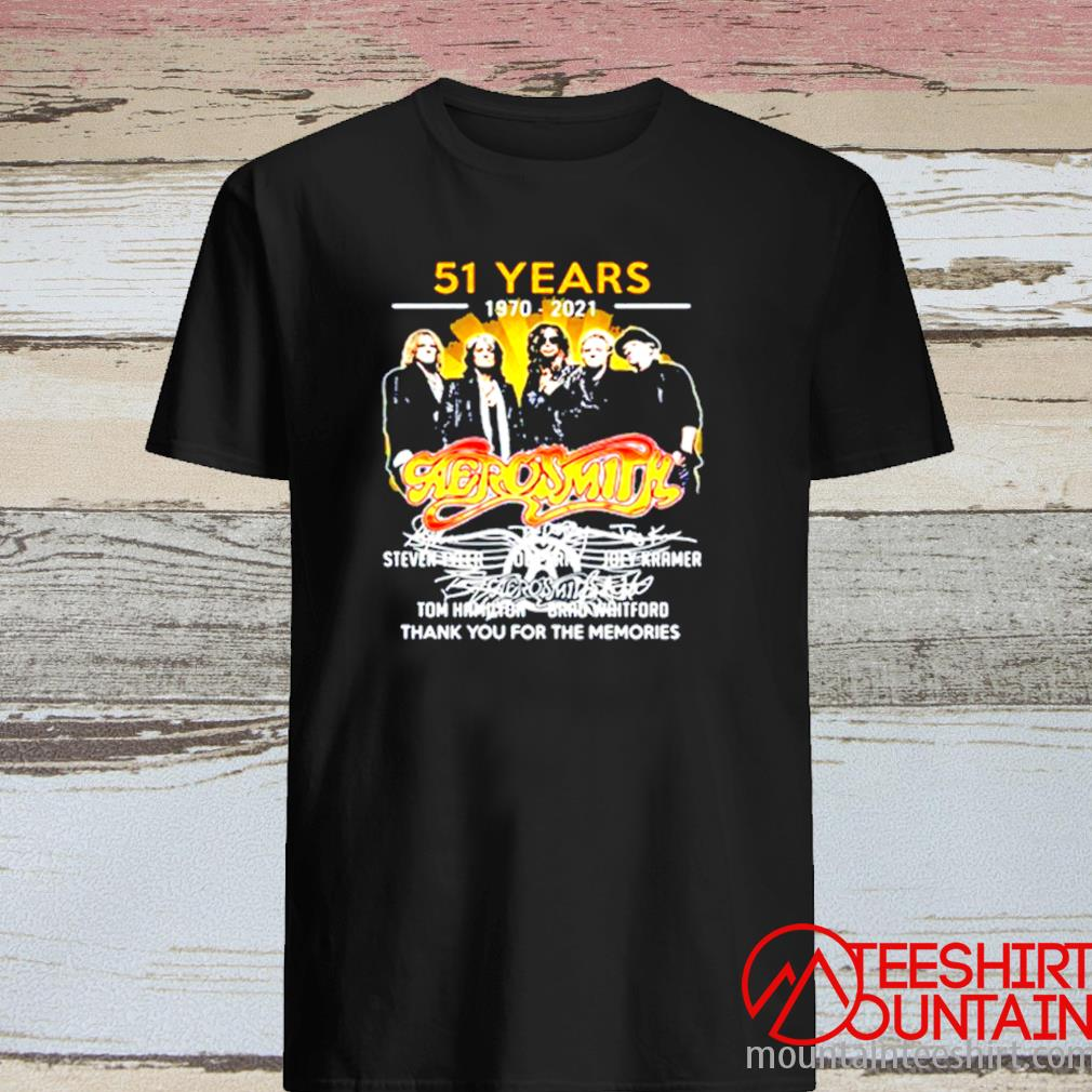 51 Years 1970-2021 Aerosmith Thank You For The Memories Signature Shirt