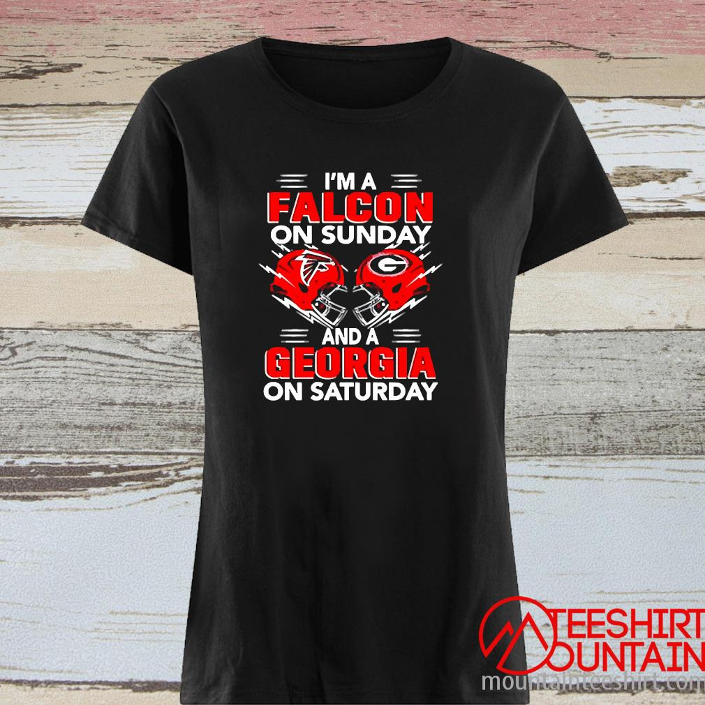 I'm A Falcon On Sunday And A Georgia On Saturday Shirt ladies tee