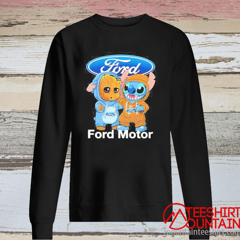 Baby Groot And Baby Stitch With Ford Motor Logo Shirt long sleeve