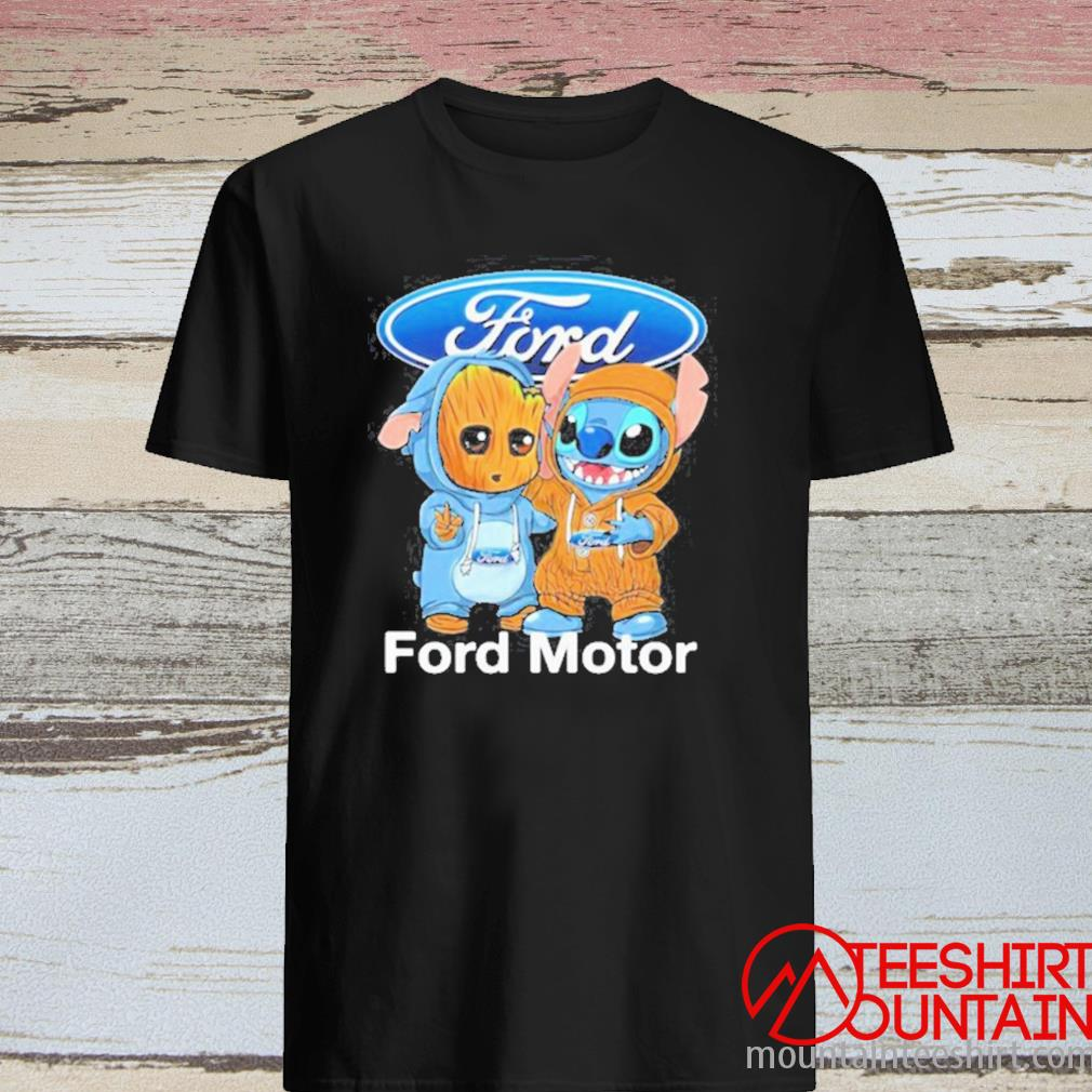 Baby Groot And Baby Stitch With Ford Motor Logo Shirt
