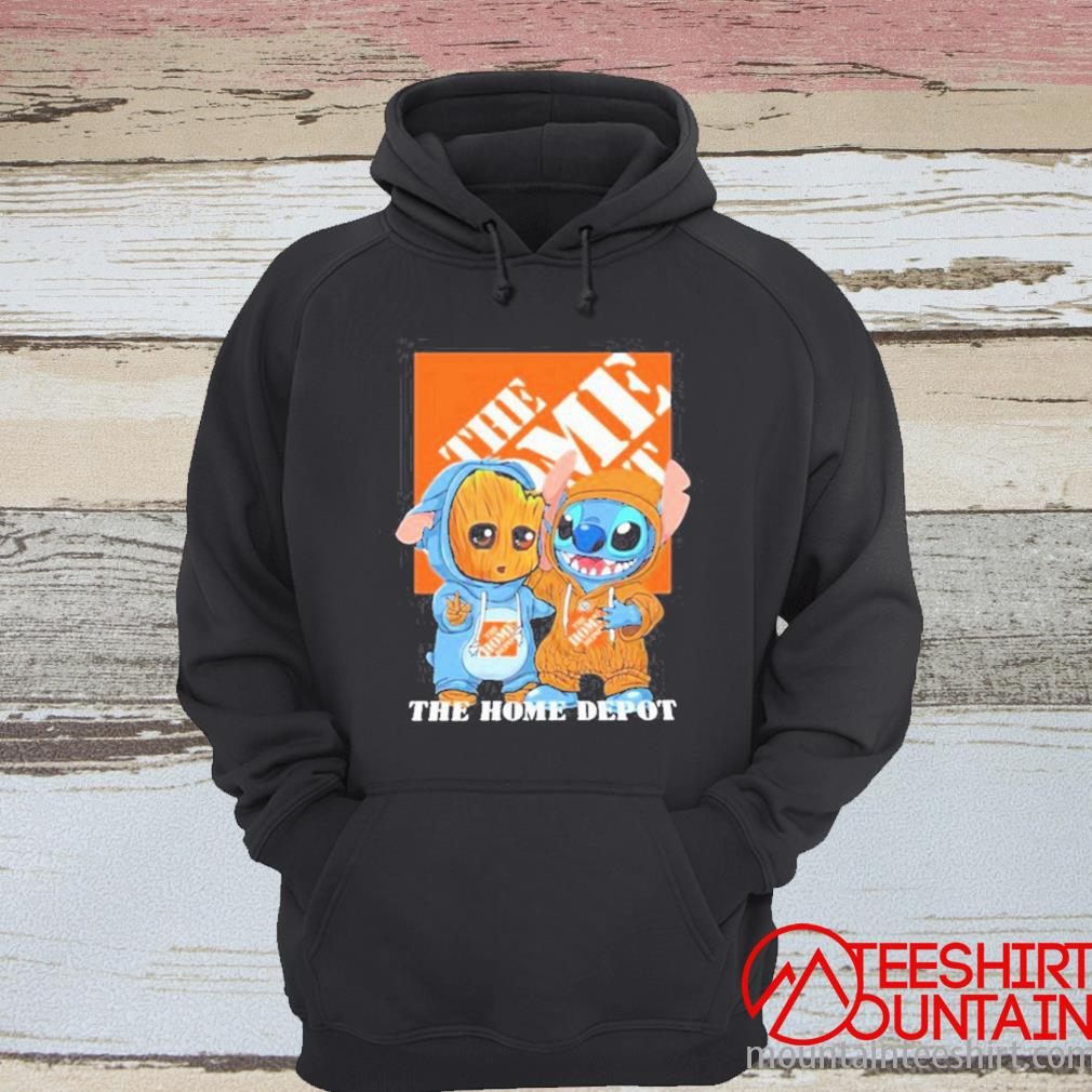 Baby Groot And Baby Stitch With The Home Depot Logo Shirt hoodie