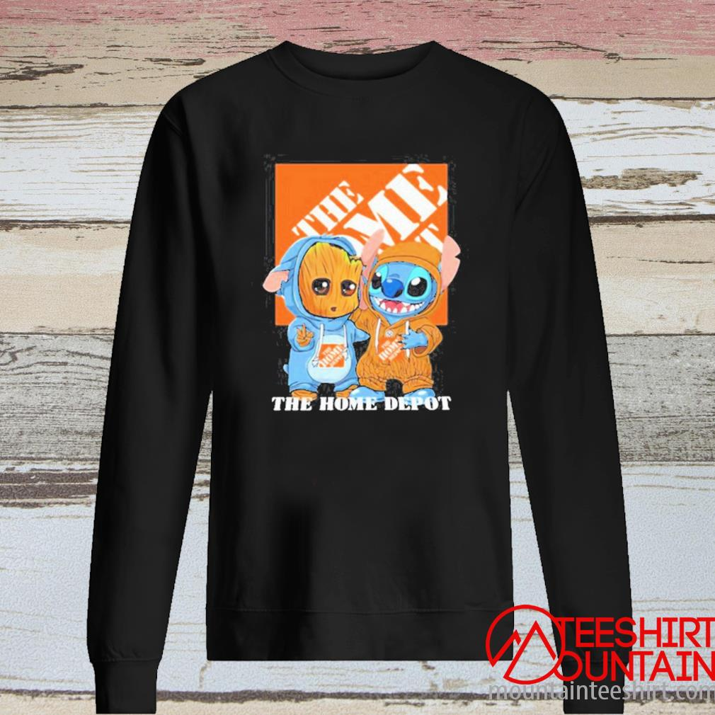Baby Groot And Baby Stitch With The Home Depot Logo Shirt long sleeve